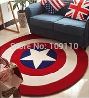 Wholesale Handmade Rugs Carpets - 2015 Personality Handmade acrylic Captain America Round rugs Five Star Living room doormat Carpets Door Floor Mat For Bedroom