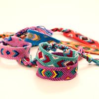 Wholesale bracelet knit online - Bohemian Style Summer Bracelets Vintage Style Colorful CM Width Cotton Knitted Friendship Geneva Bracelet mixed colors