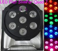 Discount american dj par led - Wholesale-8pcs lot With a flight case for 8 lights American DJ Par Lightings LED Flat Par Light 4 8Channels 7x12W RGBW 4in1 leds