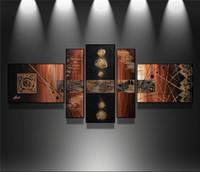 ingrosso set di arte astratta di tela-100% dipinto a mano Modern wall art astratta handmade pittura a olio su tela wall art picture 5 pz / set salotto decorazione