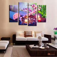 Wholesale Large Paintings For Home - Hot sell HD large flowers pictures home decor wall painting art orchid painting on wall modern wall art canvas picture for living room