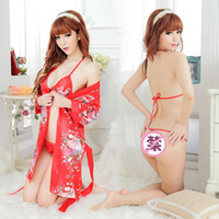 Wholesale Japanese Sexy Lingerie Suit - Wholesale sexy lingerie Students Japanese kimono printing cardigan three point multi sexy suit 158
