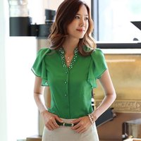 Wholesale Korean Office Blouses - Korean style Summer Lotus Leaf sleeve Beading V-neck Blouses for Office Ladies Women's Chiffon Shirts Mixed color