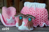 Wholesale crochet hat boots for sale - Group buy Cute Crochet Baby GirlCrocheted Cowgirl Set Includes Hat Boots and Matching Diaper Cover with Attached Skirt