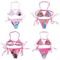 Wholesale Lovely Bikini - 2016 New Arrival Summer 2Pcs set Bikini Frozen Elsa Children Girls Lovely Kids Fashion Swimsuit Swimming Cartoon Swimwear A-0029
