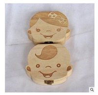 Wholesale Wholesale Keepsake Boxes - Boxes Wood Girl Boy Save Deciduous Teeth Tooth Organizer Storage Keepsakes Announcements Collecting Gift Christmas 8 Styles Free Shipping