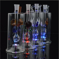 """Wholesale Shinning Glasses - Best Glow Mini Glass Bongs 5"""" inches LED Light Water Pipe with Tube Glittering Oil Rigs Glass Pipe Shinning Inline Perc Male Bowl 10mm"""