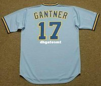 Economici personalizzati JIM GANTNER Milwaukee Brewers 1982 Majestic Cooperstown Away Baseball Jersey Maglie Mens retrò