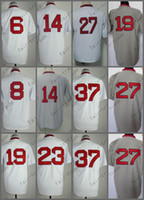 Wholesale Fred Lynn - Boston Jersey 37 Bill Lee Jersey 23 Luis Tiant 19 Fred Lynn 6 Rico Petrocelli White Shirt Throwback Baseball Jersey