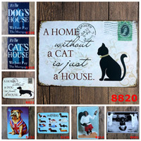Wholesale metal pieces home decor resale online - A Home without a CAT is just a HOUSE Postcard Picture Wall Stickers Decor Iron Retro Tin Metal Signs Plaques