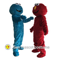 Wholesale on sesame street blue cookie monster and elmo s mascot costume high quality long fur clothing sales elmo s mascot