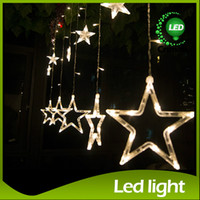 Wholesale Green Stars Background - Star String 2x1m LED String Christmas String Light Wedding Fairy Curtain Light Background Decoration 138 LED 12Stars 110V 220V EU US UK AU