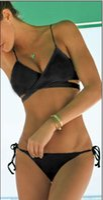 Wholesale Wrap Bikini Push Up - Black wrap bikini top Criss Cross bandage swimwear hot sell bathing suits European style sexy push up bikini vintage monokini