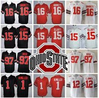Compra Ohio Stato Ncaa-Stitched LIMITED NCAA Ohio State Buckeyes # 15 Elliott # 97 Joey Bosa # 12 C.JONES # 16 BARRETT # 1 B.Miller blackout uomini Maglie hotsale