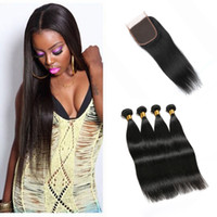 3 Bundles Straight Peruvian Brazilian Virgin Hair Extensions com Free Middle 3 Part Top 4x4 Encerado 8