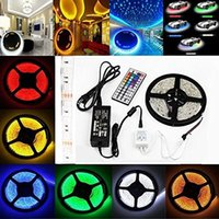 Wholesale Led Color Changing Strip - Waterproof RGB LED Strip Light Kit 16.4ft 300 LEDs Color Changing SMD GRB 5050 Dimmable 44 Key IR Remote 60W 12V 5A Power Supply Adapter