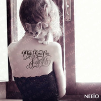 "Wholesale Tattoo Neeio - Wholesale-N05 neeio pattern makeup Tattoo huge English ornamentation large black tattoo stickers waterproof "" only god can judge"