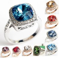 Wholesale Gold Plated Emerald Rings - 18K White Rose Gold Plated Royal Design Austrian Crystal Square Blue Green Emerald Lady Finger Ring Wholesale 9 Colors