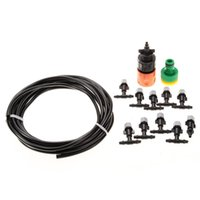Wholesale Outdoor Cooling Misting System - Deluxe 5m 16ft Outdoor Garden Misting Cooling System with 10 Plastic Micro Single Out Nozzle 00911
