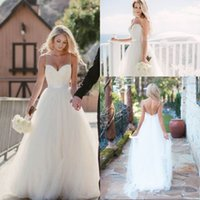 Wholesale wedding dresses sweetheart neckline princess - 2017 Vintage Ivory Spaghetti Straps Tulle Sweetheart Neckline Long Wedding Dresses Floor Length Backless Beach Bridal Gowns
