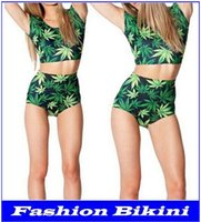 Wholesale Galaxy Swimsuits Sale - New Green Maple Leaf Sexy Print Bikini Two Piece Swimsuits Galaxy Wear Bikini High Waist Bathing Suits Women Swimsuit top sale new