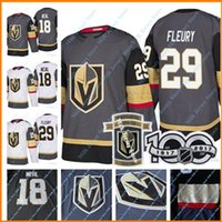 Men's Women Youth 100thInaugural Season Patches 2017-18 New Vegas Golden Knights Jerseys # 18 James Neal # 29 Marc-Andre Fleury Jersey Cinza