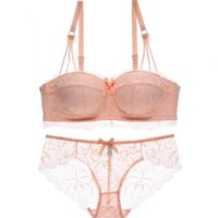 Wholesale Fresh Piece - Many colors one-piece young girls fresh lace bralette half cup push up thin thick lingerie sexy seamless women underwear bra set