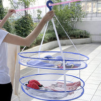 Wholesale Layers Clothes Drying Rack Folding Hanging Hanger Clothes Laundry Sweater Underwear Basket Dryer Net Bag JE0146 Salebags