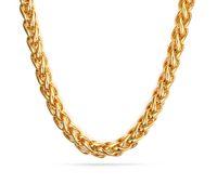 design de corrente de ouro novo para o homem venda por atacado-Extraordinária Top Venda de Ouro 7mm De Aço Inoxidável Trançado De Trigo Trança Curb cadeia Colar 28