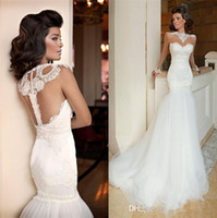 New Vintage Style Sheer Vestidos de noiva de manga comprida Jewel Neck Lace Tulle Mermaid Court Train Classic Design Bridal Gowns Custom Made W705