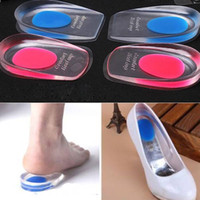 Wholesale Silicone Gel Insoles For Shoes - Heel Cup Cushion Heel Pad Foot Care Cups Silicone Gel Height Insoles Massager Shoes Increase Taller For Men Women Shoe Parts Accessories
