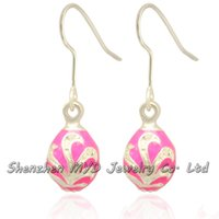Wholesale Faberge Crystal Eggs - Multi-color enameled handmade jewelry women dangle earrings Faberge style Easter egg drop earrings Valentines Day gift
