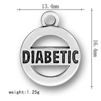 Wholesale Diabetic Charms - top quality zinc alloy 50pcs a lot round hollow pendant text DIABETIC charms for peaceful jewelry making