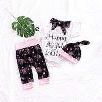 Wholesale Three Years Girls Clothes - INS Girls Outfits Spring Fireworks Baby Clothing Sets Happy new year 2018 Romper + Hats +Headband +Tights Toddler Casual Sets C2658
