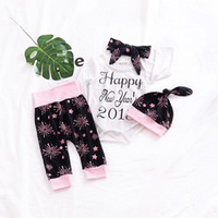 Ins ragazze Outfits Spring Fireworks Baby Clothing Sets Felice anno nuovo 2018 Pagliaccetto + Cappelli + Fascia + Tights Toddler Casual Set C2658