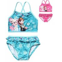 Wholesale Cute Blue Girls Bikinis - New Elsa&Anna Girl's Two Pieces Tankini Summer Style Cute Swimwear For Children&Kid's Bikini Sets 3-12Y Swimsuit