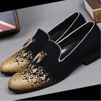 Wholesale Dress For Celebs - Plus Size 38-46 Italy Brand Fashion 2016 Celeb Style Gold Loafers Shoes for Men Genuine Leather Flats Dress Shoes Zapatos