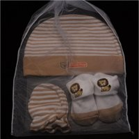 Wholesale 3pcs set Newborn Baby Gift Set Newborn Baby Hat Socks Mittens Sets Outfit Baby Socks Newborn Mittens Cotton Baby Mittens Mos