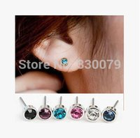 Wholesale string for women accessories - Wholesale-ES0003 Hot Selling New Fashion Cute Little Simple Crystal Stud Earrings STRING For Women Cheap Jewelry Accessories Wholesale