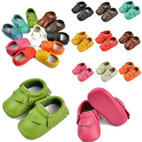 Wholesale Leather Bow Top Wholesale - Free Fedex UPS Ship 2016 baby moccasins baby moccs girls bow moccs 100% Top Layer soft leather moccs baby booties toddler shoes 35Pairs Lot