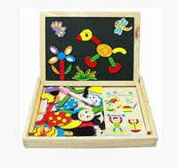 Wholesale Double Spell - Wholesale-Wooden children's puzzle drawing board Wonderful double-sided magnetic spell and learn drawing board