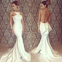 Prom Kleider 2015 Sexy Backless White Sweep Zug Halter Meerjungfrau Michael Costello Gleiche Stil Real Inmages Celebrity Kleid Prom Kleider HY