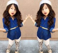 Wholesale Girl Tights Leopard - Children Set Kids Suit Outfits Girl Clothes Long Sleeve Top+Leopard Leggings Tights Child Suit Kids Sets Girls Outfits Children Clothing