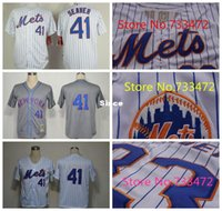 Wholesale Stripes Toms - 30 Teams- Discount #41 Tom Seaver New York Mets Jersey White With Blue Stripe NWT Shirts Gray Throwback Stitched Mens Seaver Jerseys