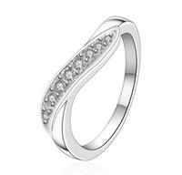 anillos de cristales austriacos al por mayor-Galjanoplastia 925 Anillos de señora de lujo de plata esterlina con muchos cristales austriacos Anillos de boda Joyería Envío gratis