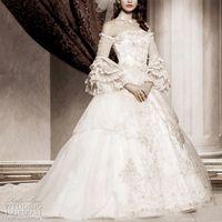 encaje victoriano gótico vestidos al por mayor-2019 Apliques de encaje blanco de organza completa Vestidos de novia de manga larga Fuera del hombro Vestidos de boda Vestido nupcial victoriano gótico victoriano Tallas grandes
