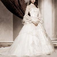 viktorianisches hülsenhochzeitskleid großhandel-2019 Full White Organza Lace Appliques Langarm Brautkleider aus der Schulter Brautkleider viktorianischen gotischen Brautkleid Plus Size