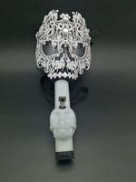 Wholesale Masks Art - New Gas Mask Bong Big Art Mask Silicone Pipes Water Shisha Acrylic Smoking Pipe Sillicone Mask Hookah Tobacco Tubes Gift boxes
