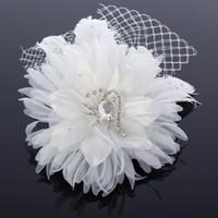 gelin kıl ağları toptan satış-Ücretsiz Kargo El Yapımı Çiçek Gelin Saç Aksesuarları Kristal Boncuk Ve Net Ile Güzel Parti Balo Aksesuarları Fascinators Ucuz Beyaz