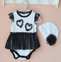 Wholesale Dot Dress Black Baby - Baby Onesies Girl Dress Lace Romper Flower Caps Children Clothes Kids Clothing 2016 Summer Jumpsuit And Rompers Baby One Piece Romper C19573